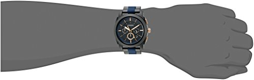 fb37efb222b Amazon.com  Fossil Men s Machine Quartz Two-Tone Stainless Steel and  Silicone Chronograph Watch