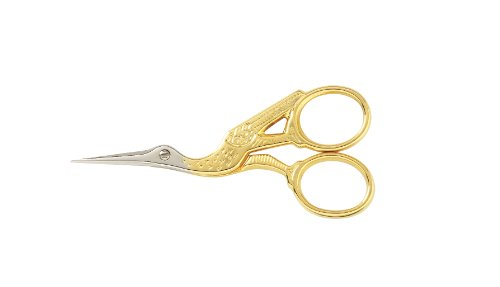 (Gingher 01-005280 Stork Embroidery Scissors, 3.5 Inch, Gold)