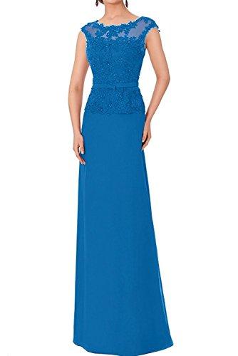 Spitze Chiffon A Abendkleider Linie Braut Marie Blau Partykleider Hundkragen Brautmutterkleider Damen La Rock qHO8ISwH