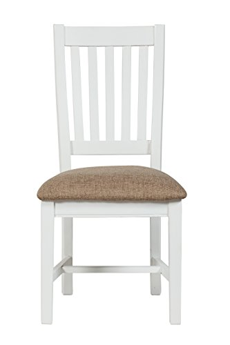CDI Furniture CH2027 White Finish The Ontario Collection Reclaimed Transitional Pine Wood Slat Dining Chair with Cushion