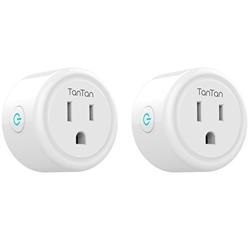 TanTan Smart Plug 2 Pack WiFi Enabled Mini Smart Switch Compatible with Amazon Alexa & Google Assistant, No Hub Required, Remote Control Your Devices from Anywhere, ETL Listed [Upgraded Version]