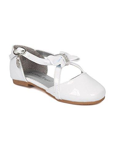 Alrisco Little Angel HB75 Girls Rhinestone Bow Tie Charmed Key Hole Flat HB76 - White Patent (Size: Big Kid 3) -