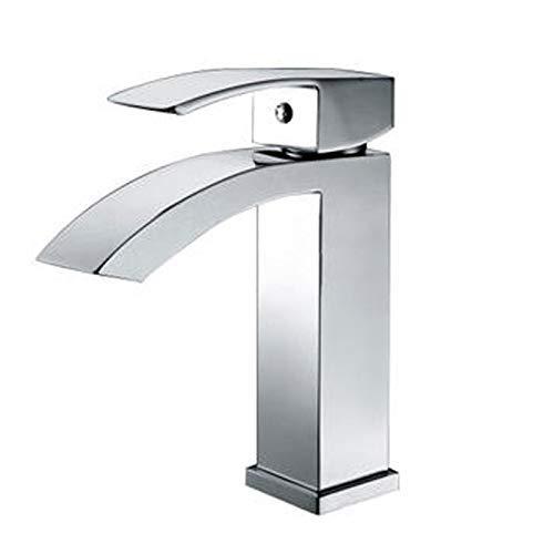 JingJingnet 洗面器ミキサータップ浴室のシンクの蛇口、銅正方形の蛇口、シングルホール鎌口洗面台、ホット&コールド盆地タップ、18センチ (Color : 18cm) B07RPT476X 18cm