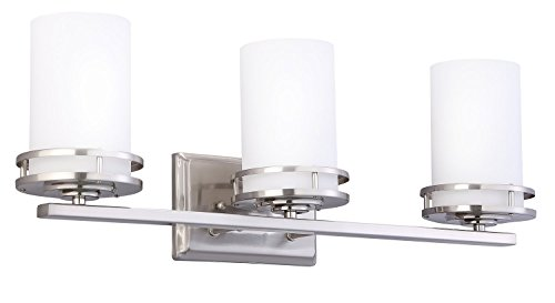 CloudyBay CB17005-BN Bath Vanity Light Fixture,3-Bulb Wall Sconce With Opal Glass Shade,UL Listed,Brushed Nickel Finish