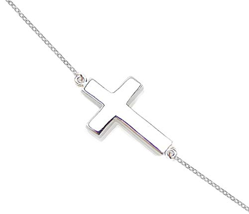 ODETOJOY Sideways Cross Necklace Sterling Silver Plated Plus Necklace Celebrity Inspired Necklace