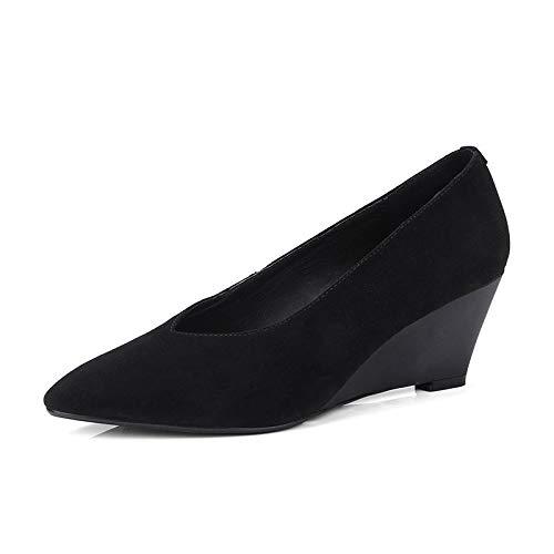 Otoño Suede Informal Slip De 2018 Marca Mujer Zapatos Altas on Hoesczs Primavera Natural Conciso Black Mujeres Cuña Bombas Calzado AFYqETTwx7