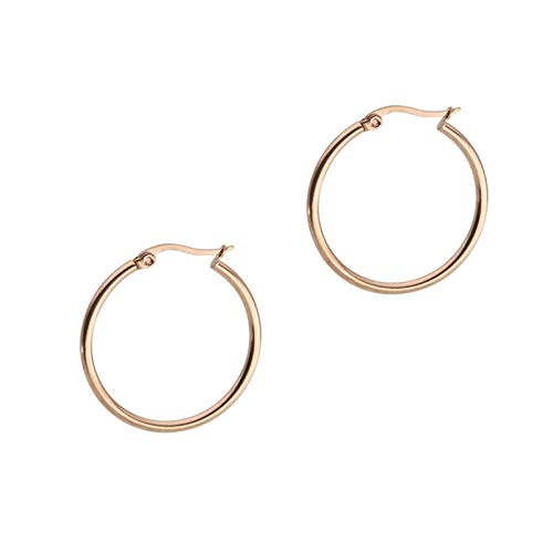 Aokarry Surgical Steel Hoop Earrings 1 Pair Women Men Rose Gold 25MM