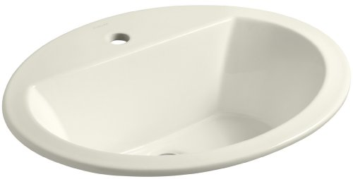 KOHLER K-2699-1-96 Bryant Oval Self-Rimming Bathroom Sink with Single-Hole Faucet Drilling, Biscuit - Lavatory Sink Biscuit