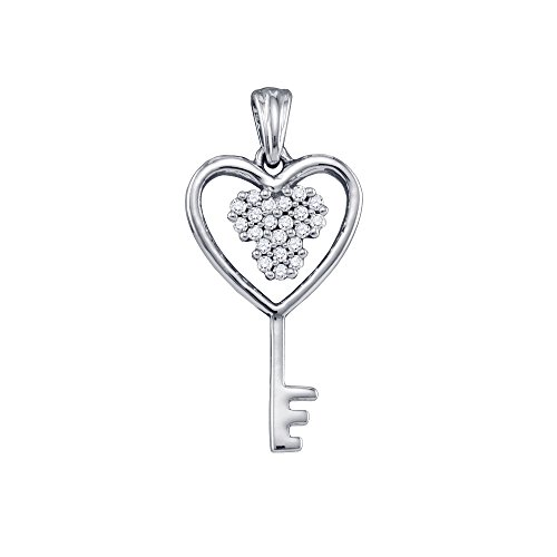 Diamond Accented Key Pendant - 10KT White Gold Round Diamond Cluster Key Heart Pendant 0.07 Cttw