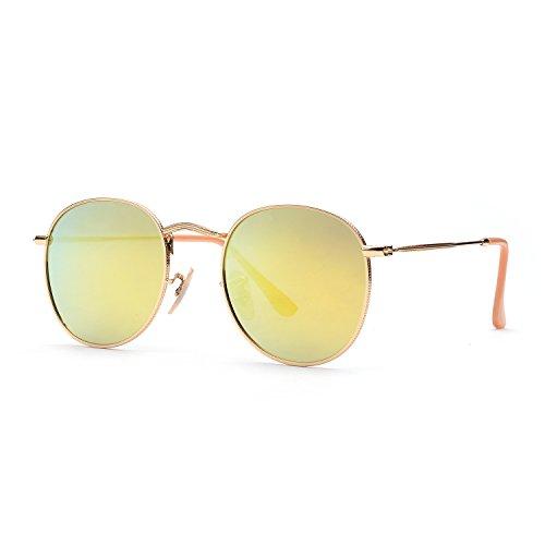 ZOGEEN Classic Metal Frame Round Circle Mirrored Sunglasses Men Women Glasses 3447 - Square Circle Glasses