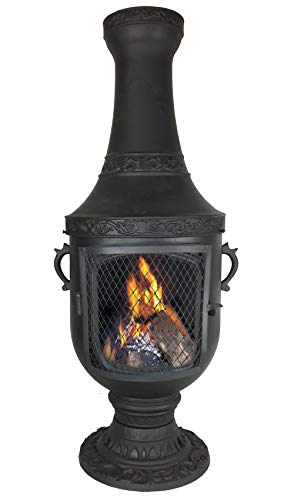 The Blue Rooster CAST ALUMINUM Venetian Chiminea with Gas kit and 10' hose in Charcoal. Also comes with a free year round cover.