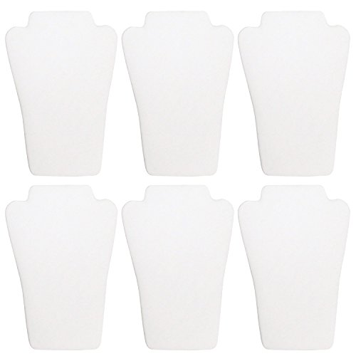 Ikee Design 6 Pcs White Leatherette Curved Necklace Easel Display 6 1/2