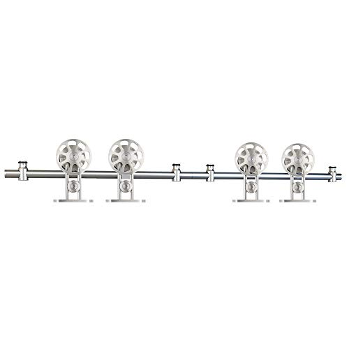 WINSOON 12FT Top Mounted Sliding Barn Door Hardware Stainless Steel Track Kit Spoke Wheel for Double doors