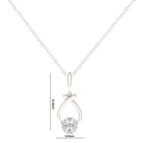 Libertini Pendentif argent 925 serti de Diamant en forme de Fleur