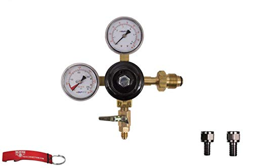 """Nitrogen Beer Regulator, Double Gauge, with Check Valve, Both 1/4"""" and 5/16"""" Barb with Swiver Nut, Taprite Brand,"""