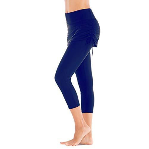 - NOMUSING Women Long Board Shorts High Waist Protection Swim Leggings Bikini Swim Pants Bottom Swimsuit Swimwear Bathing Blue