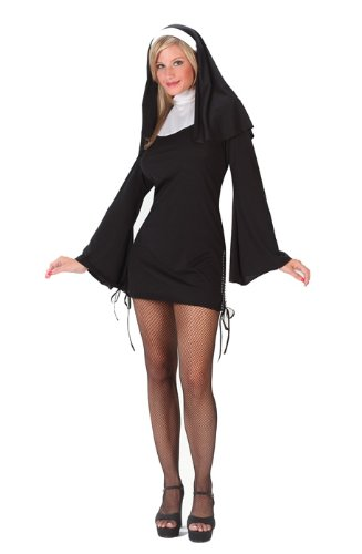 FunWorld Women's Naughty Nun, Black, S/M 2-8 Costume