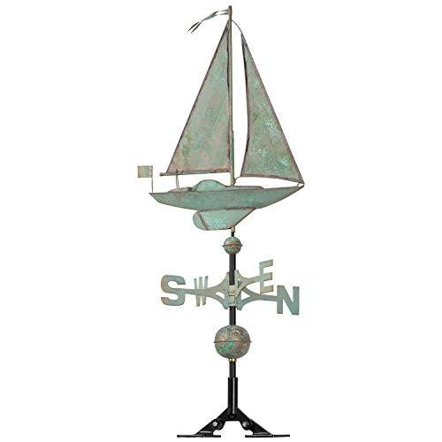 - Whitehall Products Copper Sailboat Weathervane, Verdigris