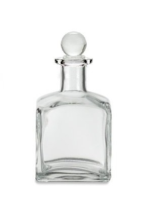 Nakpunar 7 oz Square Clear Glass Bottle with Glass Bottle Stopper - Perfume Bottle Glass Stopper