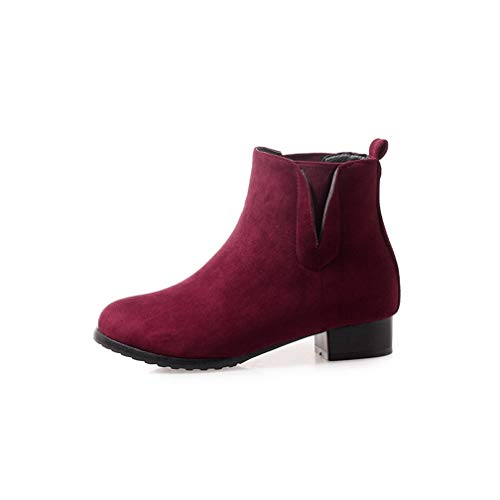 Women's Suede Ankle Booties Low Chunky Heel V Cut Round Toe Platform Slip On Chelsea Short Boots Wine-red