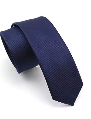 """JEMYGINS 2.4"""" Navy Tie Silk Skinny Ties for Men Slim Necktie(6)"""