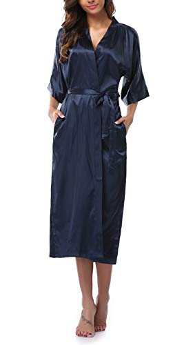 Womens Pure Color Long Satin Bathrobe Kimono Nightgown Long Dress Gown Navy - Blue Satin Silky