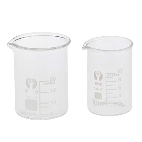 ガラスビーカー ホウケイ酸ガラス 測定 実験室 化学実験 直接加熱可能 20/10ミリリットル