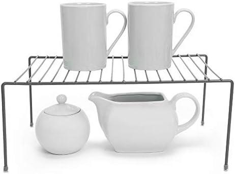 Smart Design Cabinet Storage Shelf Rack – Medium (8.5 x 13.25 Inch) – Steel Metal Wire – Cupboard, Plate, Dish, Counter & Pantry Organizer Organization – Kitchen [Charcoal Gray]