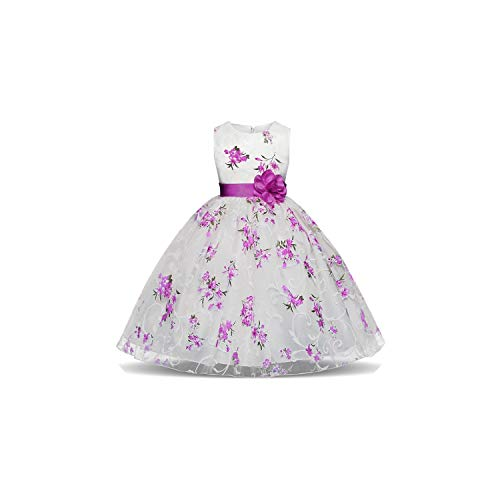 (Girl Costume Striped for Girls Formal Wedding Party Kids Princess Christmas Dress Up,As Photo12,4T)