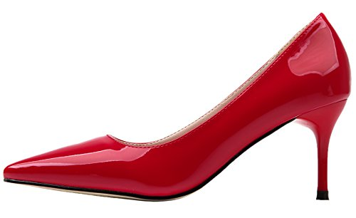 BIGTREE Women Party High Heels Slip On Pure Color Pointed Toe Court Shoes Work Shoes by Red fnyXHGXq