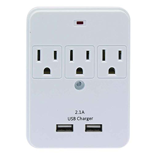 - GOWOS 3-Outlet Surge Protected Wall Tap with 2 USB Charging Ports (2.1A)