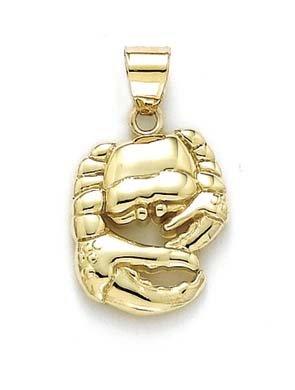 Poli 14 carats-Pendentif Zodiaque Cancer-JewelryWeb