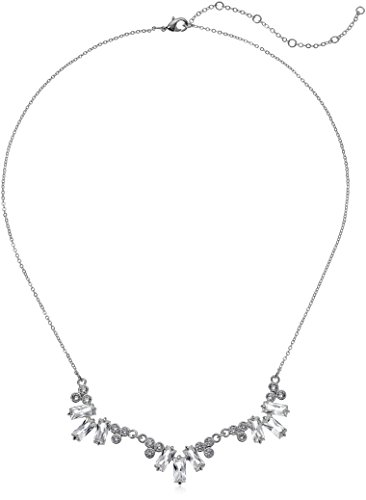 CZ by Kenneth Jay Lane Women's 4 Cttw Three Piece Baguette Cluster Necklace, Clsi, One Size