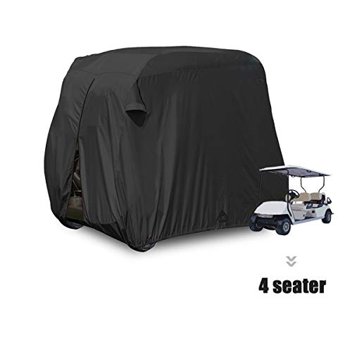 moveland 4 Passenger Golf Cart Cover Outdoor Accessories|Waterproof Dust, Extra PVC Coating Custom Cart Cover for EZ GO, Club Car, Yamaha(Black) (Used 6 Seater Golf Cart For Sale)
