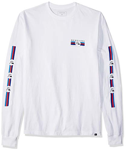 Quiksilver Men's Step Up Step Down Long Sleeve Tee, white, M