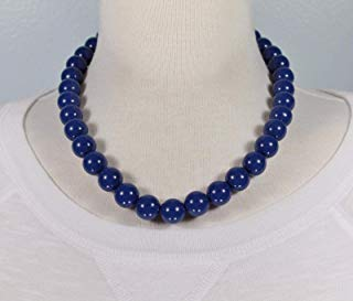Navy Blue chunky beaded necklace 18 long bead big beads 13mm size R-1621