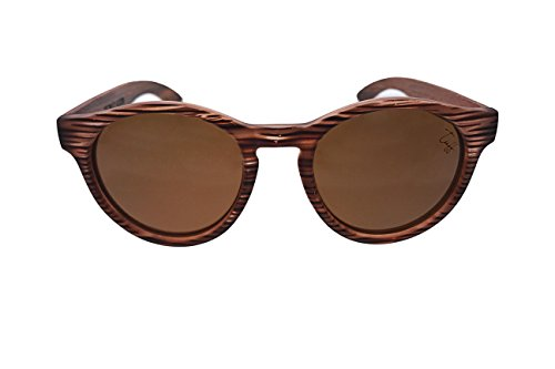 Tuff Sunglasses – Oulu – Round Brown Bubinga Wood Sunglasses Polarized Brown - Sunglasses Tuff