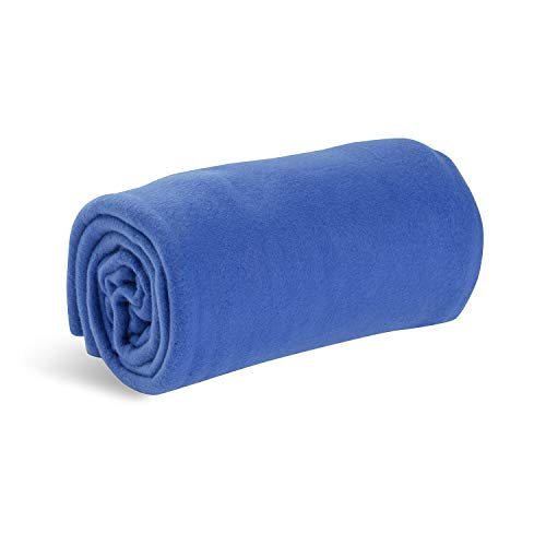 Worlds Best Cozy-Soft Microfleece Travel Blanket, 50 x 60 Inch, Blue, Great for Travel or Lounging at Home