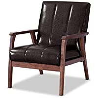 Baxton Furniture Studios Nikko Mid-Century Modern Scandinavian Style Faux Leather Wooden Lounge Chair, Medium, Dark Brown