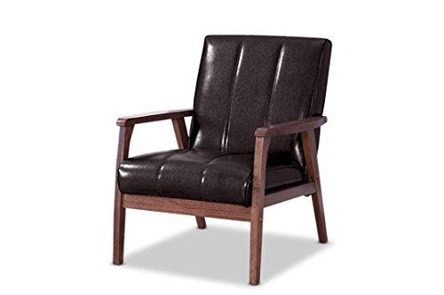 Wholesale Interiors Leather Loveseat - Baxton Furniture Studios Nikko Mid-Century Modern Scandinavian Style Faux Leather Wooden Lounge Chair, Medium, Dark Brown