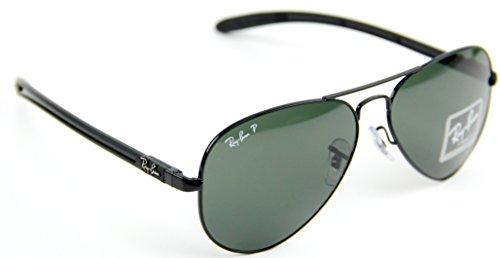 b5a2cfca3 Ray-Ban RB8307 002/N5 Carbon Fiber Polarized Aviator Black / Crystal Polar  Green G-15 Lens Sunglasses 58mm