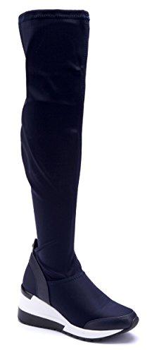 Boots 7 Damen Schuhtempel24 Stiefel Keilabsatz Schuhe Blau cm Stiefeletten Overknee q6nPRwA