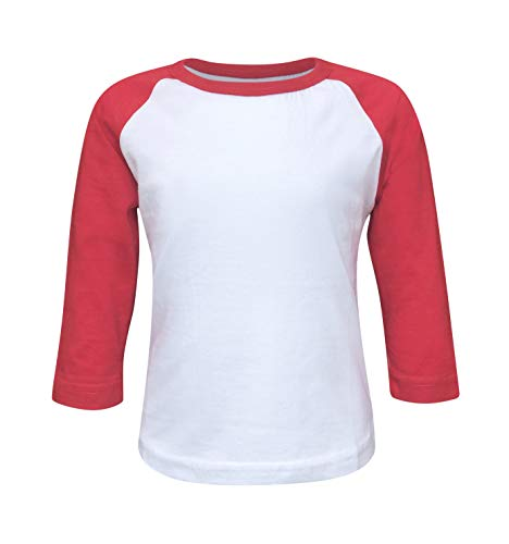 ILTEX Kids & Youth Baseball Raglan T-Shirt 3/4 Sleeve Infant Toddler Youth Athletic Jersey Sports Casual (20+ Colors) (Y-Large, White/Red) ()