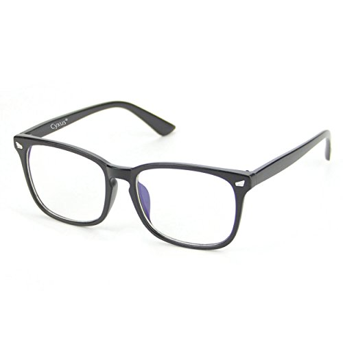Cyxus Clear Lens Plain Glasses,Retro Fashion Unisex Eyewear (Matte Black - Plain Black Glasses
