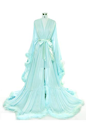 BBCbridal Women Sexy Feather Long Wedding Scarf Illusion Nightgown Robe Perspective Sheer Bathrobe Sleepwear A Turquoise L/XL
