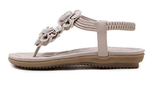 Women's apricot Shoes by Sandals Flat Casual JiYe Elastic Beach UfpRqwdTTF