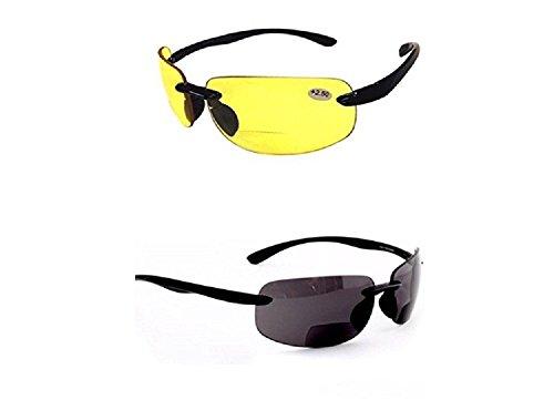 2 Pair of Rimless Bifocal Style - Yellow/Smoke Lens (+3.00 Black)