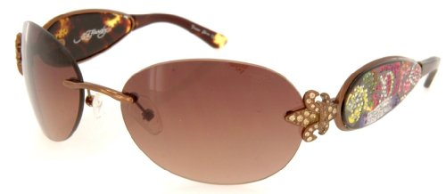 Ed Roses Hardy Womens (Ed Hardy EHS-014 Three Old School Roses Sunglasses - Cocoa/Brown)