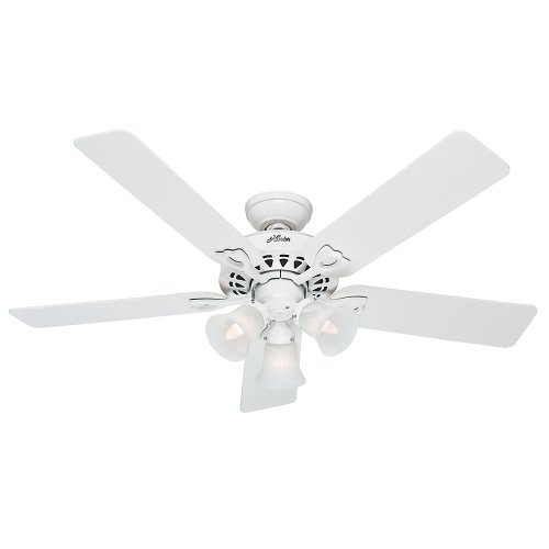 Sontera Three Light (Hunter Fan Company 53114 The Sontera 52-Inch Ceiling Fan with Five White/Bleached Oak Blades and Light Kit, White)