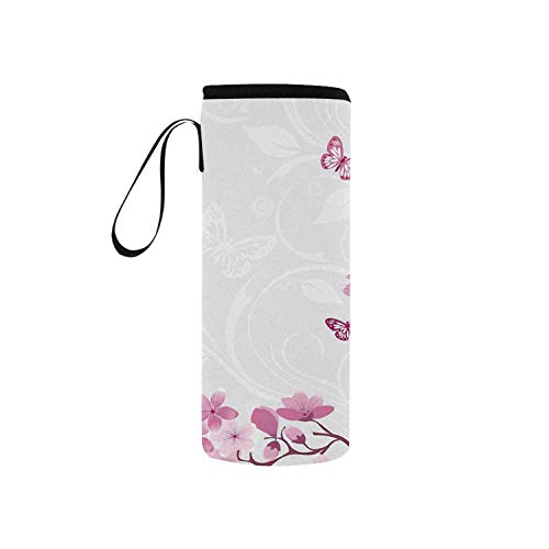 C COABALLA Japanese Simple Neoprene Water Bottle Pouch,Pink Blossoms Butterflies Inspiration Growth Flourish Nature Theme Japanese Cherry Tree for Home,5.51